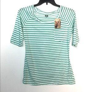 BDG Tops - BDG. L Striped Green White Top Shirt Pocket NWT